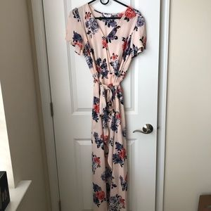 Beautiful Floral Print Romper with Maxi Overlay